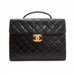 Chanel Black Quilted Leather Large Briefcase Hand Bag