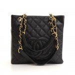 Chanel PST Black Caviar Quilted Leather Medium Grand Shopping Tote Bag