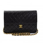 """Chanel 10"""" Classic Black Quilted Leather Shoulder Flap Bag Ex"""