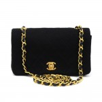 Chanel Black Quilted Cotton x Leather Shoulder Flap Mini Bag