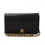 """Vintage Chanel 9"""" Classic Black Quilted Leather Shoulder Flap Bag"""