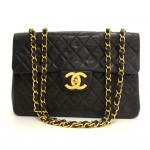 "Chanel 13"" Maxi Jumbo Black Quilted Leather Shoulder Flap Bag"