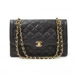 "Vintage Chanel 2.55 10"" Double Flap Black Quilted Leather Paris Limited Shoulder Bag"