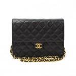 """Chanel 9"""" Black Quilted Leather Shoulder Flap Bag Ex"""