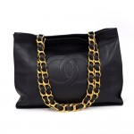 Chanel Jumbo XL Navy Leather Shoulder Shopping Tote Bag
