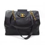 Chanel XL Supermodel Black Caviar Leather Shoulder Tote Bag