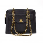 "Chanel 11"" Black Quilted Caviar Leather Medium Shoulder Tote Bag"