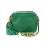 Vintage Chanel Green Leather Fringe Shoulder Small Bag