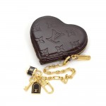 Louis Vuitton Porte Monnaies Cruer Dark Purple Amarante Vernis Leather Heart Shaped Coin Case
