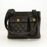 """Chanel 12"""" Black Quilted Leather Medium Shoulder Tote Bag"""