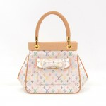 Louis Vuitton Abelia White Multicolor Mini Monogram Satin Handbag