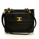 Chanel Black Lambskin Leather Medium Shoulder Tote Bag