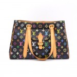 Louis Vuitton Aurelia MM Black Multicolor Monogram Canvas Shoulder Hand Bag