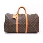 Louis Vuitton Keepall 50 Bandouliere Monogram Canvas Duffel Travel Bag