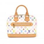 Louis Vuitton Alma White Multicolor Monogram Canvas Hand Bag