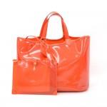 Louis Vuitton Plague Lagoon MM Orange Vinyl Beach Tote Hand Bag