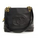 """Vintage Chanel 12"""" Black Caviar Leather Shoulder Tote Bag"""
