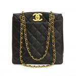 """Vintage Chanel 11"""" Black Quilted Caviar Leather Large Shoulder Tote Bag"""