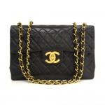 """Vintage Chanel 13"""" Maxi Jumbo Black Quilted Leather Shoulder Flap Bag"""