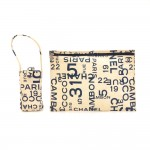 Chanel White Canvas x Navy Graffiti Large Vanity Pouch + Phone Case
