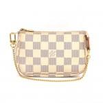Louis Vuitton Mini Pochette Accessories Damier Azur Canvas Pouch Bag
