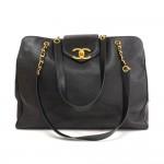 Chanel Supermodel Black Caviar Leather Shoulder Tote Bag
