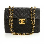 "Chanel 12"" Jumbo Black Quilted Leather Shoulder Flap Bag"