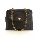 Chanel 12inch Black Caviar Leather Medium Shoulder Tote Bag