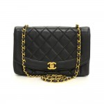 "Chanel 10"" Diana Classic Black Quilted Leather Shoulder Flap Bag"