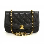 "Chanel 9"" Diana Classic Black Quilted Leather Shoulder Flap Bag"