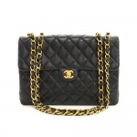 "Chanel 12"" Jumbo Black Quilted Leather Shoulder Flap Bag"