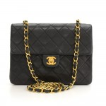"Chanel 8"" Flap Black Quilted Leather Shoulder Mini Bag"
