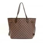 Louis Vuitton Neverfull MM Ebene Damier Canvas Shoulder Tote Bag