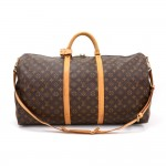 Louis Vuitton Keepall 60 Bandouliere Monogram Canvas Duffel Travel Bag + Strap
