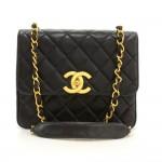 """Chanel 10"""" Black Quilted Leather Shoulder Flap Bag Large CC Logo"""