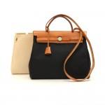 Hermes Herbag PM 2 in 1 Canvas Brown Leather Shoulder Bag