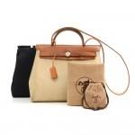 Hermes Herbag PM 2 in 1 Beige Canvas Brown Leather Shoulder Bag