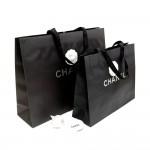 Chanel Black Large Shopping Bag Set of 2 + Camellia Charm