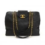 Chanel Supermodel Black Leather XL Shoulder Tote Bag