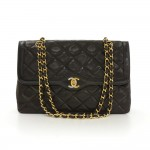 "Vintage Chanel 2.55 11"" Double Flap Black Quilted Leather Paris Limited Shoulder Bag"