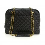 "Vintage Chanel 14"" Black Quilted Lambskin Leather XL Tote Shoulder Bag"