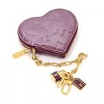 Louis Vuitton Porte Monnaies Cruer Dark Purple Violet Vernis Leather Heart Shaped Coin Case