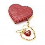 Louis Vuitton Porte Monnaies Cruer Red Pomme D'amour Vernis Leather Heart Shaped Coin Case