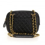 "Vintage Chanel 9"" Black Quilted Leather Shoulder Tote Bag"