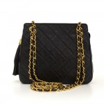 "Chanel 9"" Black Quilted Leather Fringe Shoulder Pochette Bag"