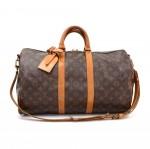 Vintage Louis Vuitton Keepall 45 Bandouliere Monogram Canvas Duffle Travel Bag + Strap