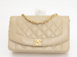 Chanel 10inch Dianna Classic Beige Quilted Leather Shoulder Flap Bag