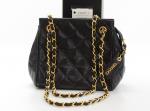 Vintage Chanel Black Quilted Leather Shoulder Pochette Bag