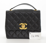 Chanel 10inch Black Quilted Leather Shoulder Flap Bag Large CC Logo
