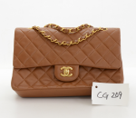 Chanel 2.55 10inch Double Flap Brown Quilted Leather Shoulder Bag